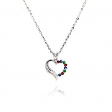 Sterling Silver Multi color CZ Rhodium Plated Heart Pendant Necklace - BGP00016