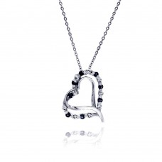 Sterling Silver Black and Clear CZ Rhodium Plated Double Heart Pendant Necklace - BGP00020