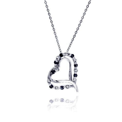 Wholesale Sterling Silver 925 Black and Clear CZ Rhodium Plated Double Heart Pendant Necklace - BGP00020