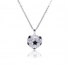 Sterling Silver Clear CZ Star Rhodium Plated Heart Pendant Necklace - BGP00021