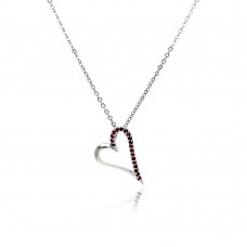 Sterling Silver Red CZ Rhodium Plated Heart Pendant Necklace - BGP00023