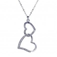 Sterling Silver Clear CZ Rhodium Plated Double Heart Pendant Necklace - BGP00025