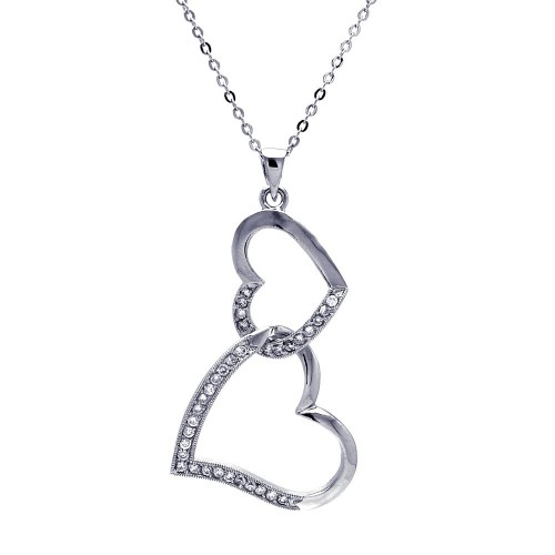 Wholesale Sterling Silver 925 Clear CZ Rhodium Plated Double Heart Pendant Necklace - BGP00025