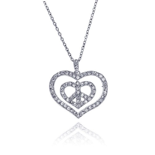 Wholesale Sterling Silver 925 Rhodium Plated Peace Double Heart Pendant Necklace with CZ - BGP00027