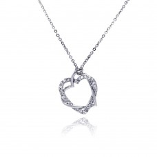 Sterling Silver Clear CZ Rhodium Plated braided heart Pendant Necklace - BGP00029