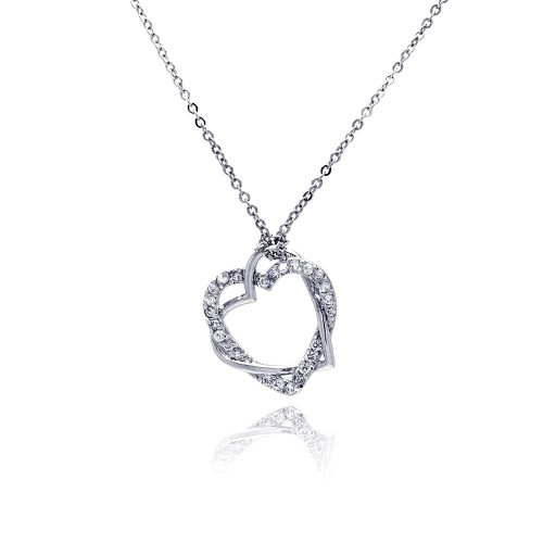 Wholesale Sterling Silver 925 Clear CZ Rhodium Plated Braided Heart Pendant Necklace - BGP00029