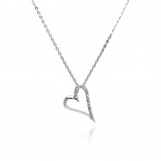 Sterling Silver Clear CZ Rhodium Plated Open Heart Pendant Necklace - BGP00033