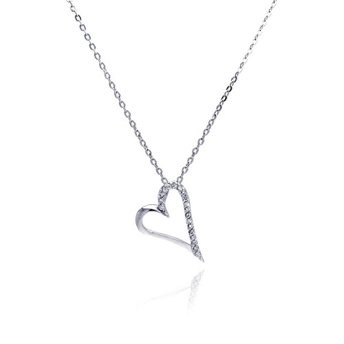 Wholesale Sterling Silver 925 Clear CZ Rhodium Plated Open Heart Pendant Necklace - BGP00033