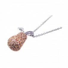 -Closeout- Wholesale Sterling Silver 925 Yellow CZ Gold Plated Pear Pendant Necklace - BGP00040