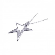 Wholesale Sterling Silver 925 Clear CZ Rhodium Plated Star Pendant Necklace - BGP00042