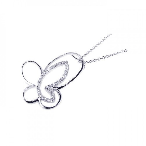 Wholesale Sterling Silver 925 Clear CZ Rhodium Plated Butterfly Pendant Necklace - BGP00044