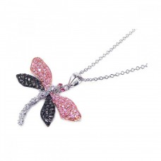 **Closeout** Sterling Silver Black Pink Clear CZ Black Rhodium Plated Pendant Necklace - BGP00045