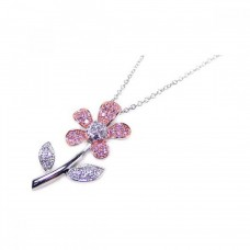 **Closeout** Wholesale Sterling Silver 925 Clear Pink CZ Rhodium Rose Gold Plated Flower Pendant Necklace - BGP00046