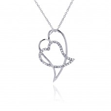 Sterling Silver Clear CZ Rhodium Plated Double Heart Pendant Necklace - BGP00047