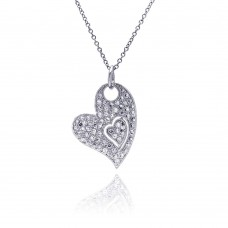 Sterling Silver Clear CZ Rhodium Plated Heart Pendant Necklace - BGP00048