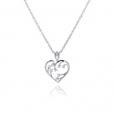 Sterling Silver Clear CZ Rhodium Plated Heart Pendant Necklace - BGP00049