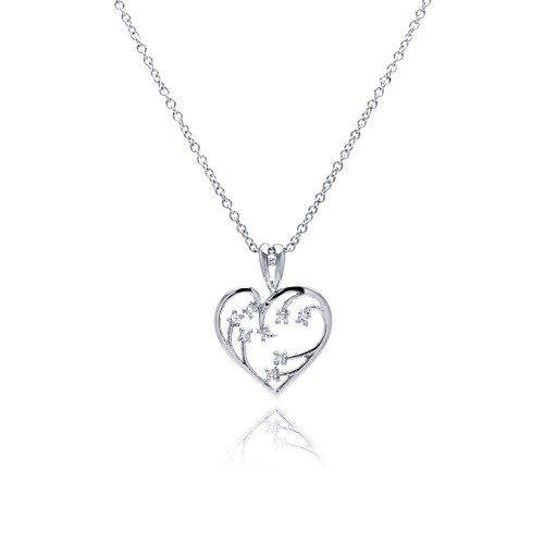 Wholesale Sterling Silver 925 Clear CZ Rhodium Plated Heart Pendant Necklace - BGP00049