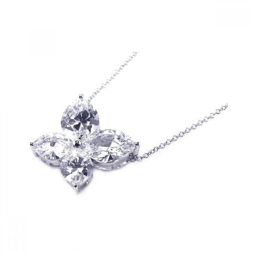 -Closeout- Wholesale Sterling Silver 925 Clear CZ Rhodium Plated Butterfly Pendant Necklace - BGP00054