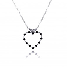 Sterling Silver Black CZ Rhodium Plated Heart Pendant Necklace - BGP00055