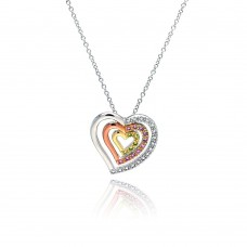 Sterling Silver Clear Pink Yellow CZ Gold Rose Gold and Rhodium Plated 3 Graduated Heart Pendant Necklace - BGP00056