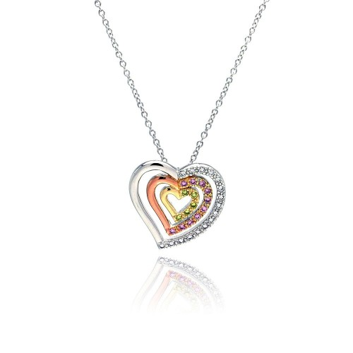 ***Closeout*** Wholesale Sterling Silver 925 Clear Pink Yellow CZ Gold Rose Gold and Rhodium Plated 3 Graduated Heart Pendant Necklace - BGP00056