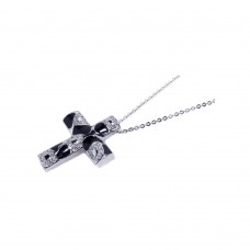 **Closeout** Sterling Silver Clear CZ Black Enamel Rhodium Plated Cross Pendant Necklace - BGP00057