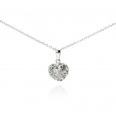 Sterling Silver Clear CZ Rhodium Plated Heart Locket Pendant Necklace - BGP00061