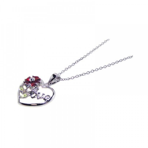 Wholesale Sterling Silver 925 Red CZ Rhodium Plated Love Heart Pendant Necklace - BGP00062