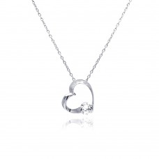 Sterling Silver Clear CZ Rhodium Plated Heart Pendant Necklace - BGP00063