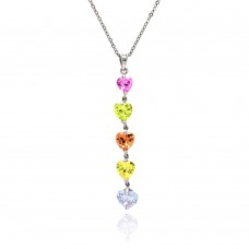 Sterling Silver Multi Color CZ Rhodium Plated 5 Heart Pendant Necklace - BGP00068
