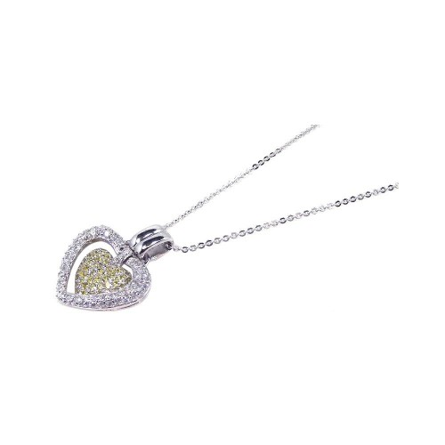 Wholesale Sterling Silver 925 Clear Yellow CZ Rhodium Plated Double Heart Pendant Necklace - BGP00070