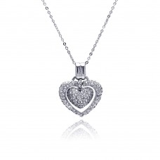 Sterling Silver Clear CZ Rhodium Plated Double Heart Pendant Necklace - BGP00071CLR