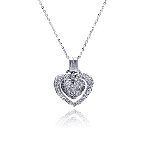 Wholesale Sterling Silver 925 Clear CZ Rhodium Plated Double Heart Pendant Necklace - BGP00071CLR