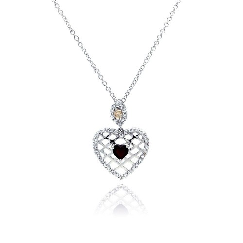 Wholesale Sterling Silver 925 Red CZ Rhodium Plated Filigree Heart Pendant Necklace - BGP00072