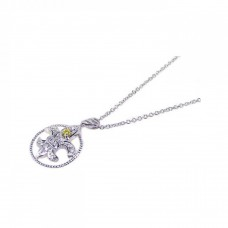 **Closeout** Wholesale Sterling Silver 925 Yellow Clear CZ Rhodium Plated Fleur Di Lis Pendant Necklace - BGP00073