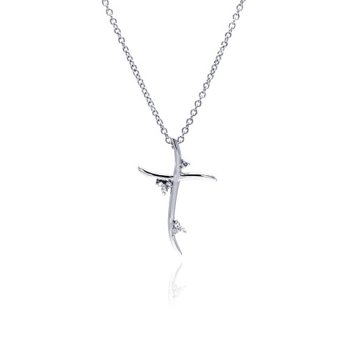 Wholesale Sterling Silver 925 Clear CZ Rhodium Plated Cross Pendant Necklace - BGP00078