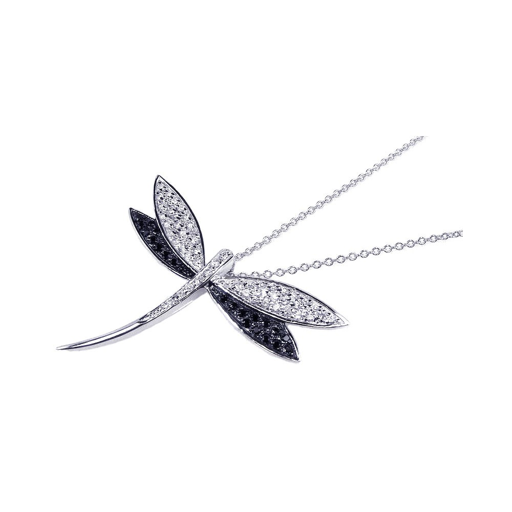 Wholesale Sterling Silver 925 Black Clear CZ Rhodium Plated Butterfly Pendant Necklace - BGP00083