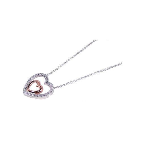 Wholesale Sterling Silver 925 Clear CZ Rhodium and Rose Gold Plated Heart Pendant Necklace - BGP00087
