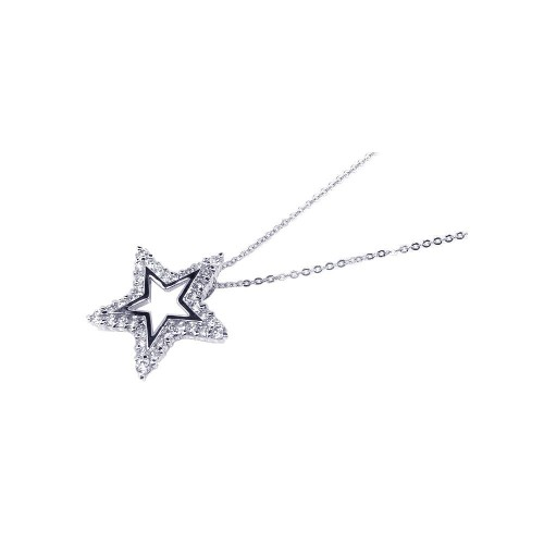Wholesale Sterling Silver 925 Clear CZ Rhodium Plated Star Pendant Necklace - BGP00089