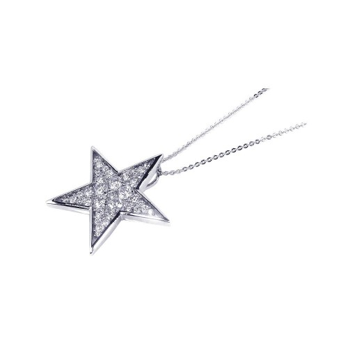 -Closeout- Wholesale Sterling Silver 925 Clear CZ Rhodium Plated Star Pendant Necklace - BGP00090