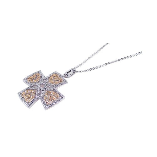 **Closeout** Wholesale Sterling Silver 925 Yellow Clear CZ Rhodium Gold Plated Cross Pendant Necklace - BGP00091