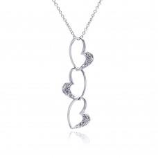 Sterling Silver Clear CZ Rhodium Plated 3 Heart Pendant Necklace - BGP00093