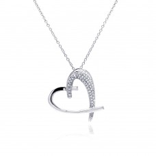 **Closeout** Sterling Silver Clear CZ Rhodium Plated Heart Pendant Necklace - BGP00096