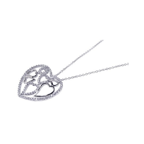 Wholesale Sterling Silver 925 Clear CZ Rhodium Plated Multi Heart Pendant Necklace - BGP00098