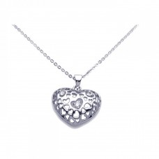Sterling Silver Clear CZ Rhodium Plated Heart Pendant Necklace - BGP00100