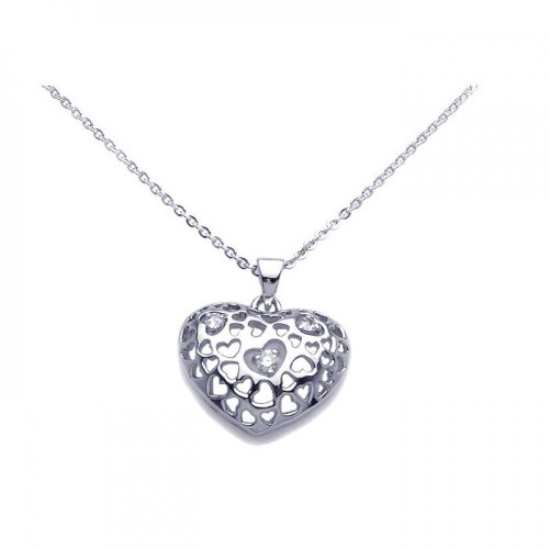 Wholesale Sterling Silver 925 Clear CZ Rhodium Plated Heart Pendant Necklace - BGP00100