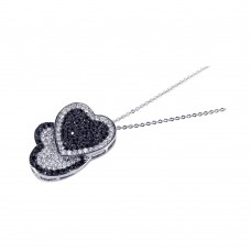 **Closeout** Sterling Silver Clear Black CZ Rhodium Plated Double Heart Pendant Necklace - BGP00101