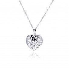 Sterling Silver Clear CZ Rhodium Plated Filigree Heart Pendant Necklace - BGP00105