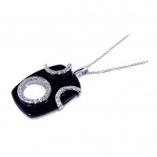 Sterling Silver Clear CZ Rhodium Plated Black Onyx Octagon Pendant Necklace - BGP00107