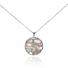 Sterling Silver Clear CZ Mother Pearl Rhodium Plated Round Pendant Necklace - BGP00115